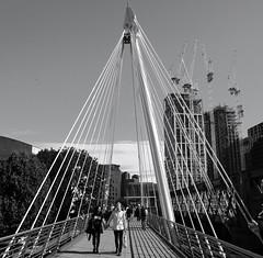 Golden Jubilee Bridge (mesbkr1) Tags: canonphotography canon londonstreets bnwphotography blackandwhite bnw streetphotography london street people shadows bridge