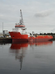 Putford Phoenix (Nekoglyph) Tags: putfordphoenix cargo supply ship boat vessel red orange water reflections rivertees dock middlesbrough white calm grey