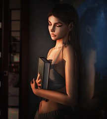 Now I know what it's like to love and to feel loved... (trendyandcoffee) Tags: secondlife sl girl love inlove book read photoshop night edit mood edition art artist