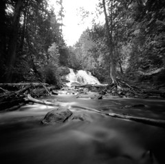 (facenorth) Tags: zeroimage2000 kodaktmax100 kodakhc110 woodencamera selfdeveloped scan negative longexposure waterfall laketemiscaming quebec lomography lomo mediumformat 120film ishootfilm filmisnotdead analogue bw blackandwhite pinhole pinholecamera milf manilovefilm