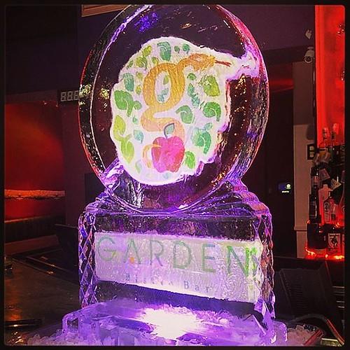 Happy 6th #anniversary to #gardenbistrobarsa tonight! #fullspectrumice #logo #icesculpture #thinkoutsidetheblocks #brrriliant - Full Spectrum Ice Sculpture