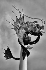 Barbican Prawn 2018 BW (Jonathan Goddard1) Tags: pentax k1 dfa150450mmwr plymouth barbican sculpture monument statue prawn seamonster beast monochrome blackandwhite blackwhite bnw bw noiretblanc noir