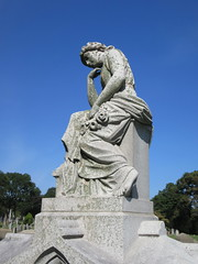 Pensive Lady Mourner Grave Marker 9404 (Brechtbug) Tags: pensive lady mourner grave marker granite greenwood cemetery statue gown graveyard tomb tombstone crypt mausoleums angels standing posed green wood brooklyn new york city 2018 nyc 09012018 books reading album folio tome stone