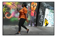 STREET ART by MOWSCODELICO (StockCarPete) Tags: mowscodelico glor mikglor streetart londonstreetart urbanart graffiti shoreditchart london uk character pavement women orangeshirt