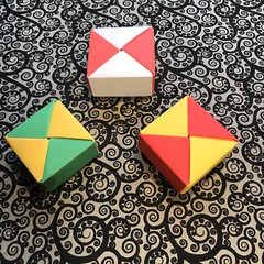 ORIGAMI BOXES (8) (JOHN MORGANs OLD PHOTOS.) Tags: made by john morgan 160 gsm card for my ribbon brooches origami boxes box