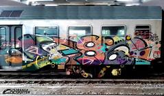 386 (StrangeSpotter) Tags: graff graffiti graffitiart graffititrain traingraffiti train street streetart art painted paintedtrains 386 crew italy