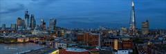 When the night falls over London. (W.MAURER foto) Tags: uk greatbritain london panorama bluehour shard skyline thames themse southwarkbridge gurkin sky panoramic nikond800 nikkor2470mmf28 travel travelphotography