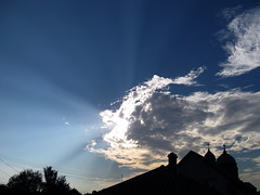 Sun rays. (ALEKSANDR RYBAK) Tags: clouds sky solar shine beams temple church crosses domes roofs trees weather season облака небо солнечный свет лучи храм церковь кресты купола крыши деревья погода сезон