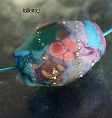 Juliane (Laura Blanck Openstudio) Tags: openstudio openstudiobeads single focal glass murano handmade bead fine arts art artist artisan big holes huge nugget rock pebble stone whimsical funky odd jewelry necklace pendant choker colorful multicolor boho bohemian abstract frit asymmetric organic earthy sterling silver silvered matte frosted etched opaque transparent glow glowing purple violet grape lilac lavender plum mauve eggplant made usa green blue aque turquoise coral peach orange ocher teal mermaid amber bottle pine emerald jungle gray