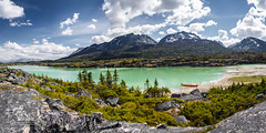 Fraser Panorama (fentonphotography) Tags: ultrawide atlin britishcolumbia canada ca panorama landscape clouds bluesky mountains water greentrees rocks