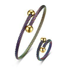 Multicolor Stainless Steel Bracelet Ring Women Jewelry Set (1241275) #Banggood (SuperDeals.BG) Tags: superdeals banggood jewelry watch multicolor stainless steel bracelet ring women set 1241275