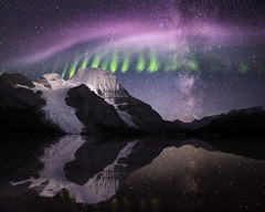 Berg Lake Aurora (robertdownie) Tags: auroraborealis berglake britishcolumbia canada steve astronomy beautyinnature coldtemperature galaxy idyllic lake milkyway mountain nature night picketfenceaurora reflection scenicsnature sky snowcappedmountain space starspace tranquilscene tranquility water waterfront mountains rock snow green pink ice glacier clear hiking aurora trekking south astrophotography rocky berg nightscape northernlights crisp picketfence northface canadianrockies mtrobson