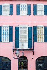 Pink Rainbow Row house on East Bay Street in Charleston South Carolina (CarmenSisson) Tags: charleston southcarolina rainbowrow neighborhood south southeasternus wall doors usa unitedstates us america lowcountry eastbaystreet residence home travel windows masonry brick tropical colorful cheerful pattern architecture facade vertical