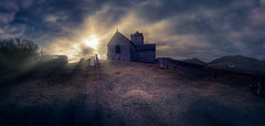 Rodel Church sunset panorama (The Unexplored) Tags: outerhebrides hebridean scotland celtic ancient monument church isleofharris rodel westernisles nikon sigma 816mm adobe lightroom thegrimgit grimgit unexplored theunexplored hdr tonemapped tonemapping panorama