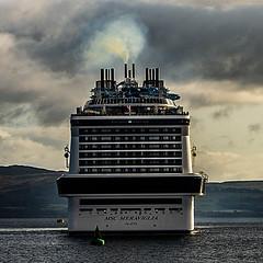 MSC Meraviglia Reverse Lights On (Brian Travelling) Tags: pentaxkr scotland msc meraviglia cruise cruiseship ship boat water riverclyde sky exhaust fumes plumes clouds greenock ocean terminal inverclyde