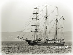 Sailing ship on Lough Foyle. (wjg Image's) Tags: mono monochrone blackandwhite ship boat vessel tallship river lough loughfoyle water waterscape ireland eire ulster sailingboat sky clouds