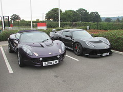 Lotus Elise S Touring YJ08JJY and Lotus Exige S Premium Sport EX13GEE (Andrew 2.8i) Tags: haynes motor museum breakfast meet sparkford yeovil somerset show classic classics cars car autos british sports coupe sportscar roadster touring s elise premium exige lotus