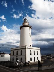 La Farola De Málaga (Mateusz Medyński) Tags: lighthouse sky clouds samyang12 architecture blue white samyang 12mm malaga spain farola españa andalousie