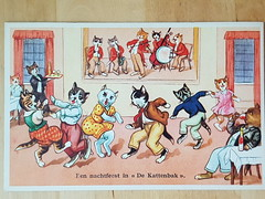 Een nachtfeest in de Kattenbak (DymphieH) Tags: postcards vintage cats offer2018