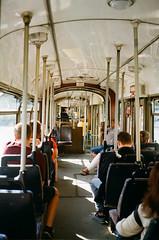 Tram in Lodz (Poland) (zuziawie) Tags: minolta himatic analogue poland lodz g people train 35mm kodak