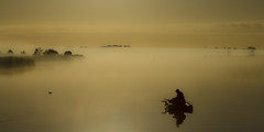 Sit and wait (Elke Bosma-Prins) Tags: mist fog water fisherman boat lake sunset landscape nature fryslan friesland