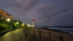 Umhlanga Lighthouse at Night (Rckr88) Tags: umhlanga durban southafrica south africa lighthouse night umhlangalighthouseatnight umhlangalighthouse sea sand beach water ocean coast coastal coastline nights light lights wave waves rock rocks cloud clouds cloudy