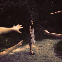 Against Fear (Jen Kiaba) Tags: women people females youngadult outdoors nature freedom summer beauty dark oneperson adult beautiful lifestyles humanhand sensuality blackcolor youngwomen fear forest woods fantasy surreal night young woman conceptual