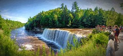 Tahquamenon Falls (Wes Iversen) Tags: hss michigan sliderssunday tahquamenonfalls tahquamenonfallsstatepark tahquamenonriver up upperfalls upperpeninsula boardwalks fence nature painterly panoramas people railings rivers touristattractions tourists trees water waterfalls