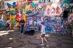 At the John Lennon Wall, Prague (romanboed) Tags: leica m 240 summicron 28 czech europe cesko czechia prague praha prag praag praga john lennon wall zed street musician summer travel tourism 布拉格 прага プラハ براغ 프라하
