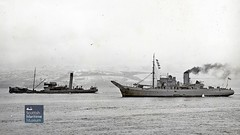 Unidentified Bar Class Boom Defence vessel and Glasgow Corporation sewage vessel on the Clyde (Scottish Maritime Museum - SMM) Tags: hnx guys