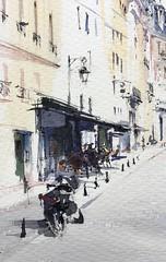 Mortorcycle and café, Place Dauphine, Paris. (alexhillkurtzart) Tags: watercolor urbansketch usk paris