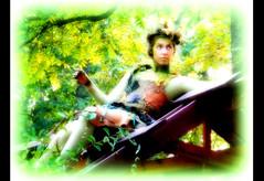 woodland sprite (milomingo) Tags: people woman female glow green nature outdoor sprite bristol bristolrenaissancefair renfair apparel costume mythical medieval whimsical multicolored photoborder softfocus performer actor aloof bright vivid vibrant contrast frame