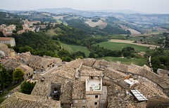 Rooftops of Petritoli, Marche, Italy (Steve Weaver) Tags: marche italy italia beautiful village town historic medeival history architecture roof roofs rooftops tiles vista view viewfromabove landscape nature clocktower hills hillside petritoli