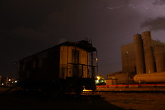 Lightning Rocks (recekasten) Tags: lightning train caboose rock island wisconsin appleton mow