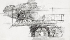 Steam locomotive and a house with a chimney (1892) by Julie de Graag (1877-1924). Original from the Rijks Museum. Digitally enhanced by rawpixel. (Free Public Domain Illustrations by rawpixel) Tags: antique chimney construct cottage drawing engine flat home house illustrated illustration juliedegraag loco locomotive old rail railroad railway residence shelter sketch steam steamlocomotive track train transport trip vintage woodhouse yard