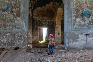 Village children in an abandoned church.