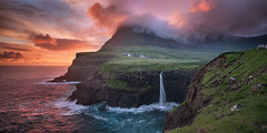'Senses Alight' - Mullafossar Waterfall, Faroe Islands (Gavin Hardcastle - Fototripper) Tags: faroe islands mullafossar waterfall summer sunset europe european clouds waves ocean gavin hardcastle fototripper