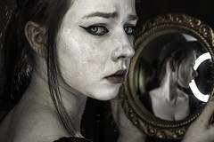 Am I only a reflection (R J Poole - The Anima Series) Tags: poole rjpoole lismore nsw australia art photographic fine artist photography prime lens leica leicas medium format portrait portraiture people anima series unusual strange dark low light studio lighting ringlight emotive emotional raw emotion original creative contemporary modern preraphaelite digital photoshop adobe haunting beautiful surreal surrealism artistic innovative jung jungian psychological psychology symbolic symbolism face female feminine storytelling soulful mystery mystic mysterious esoteric gothic goth meghann mediumformat
