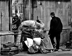 All He Owns.... (WorcesterBarry) Tags: blackwhite bnw blackandwhite buildings places people photographers street streetphotography streetphoto sadness homeless h