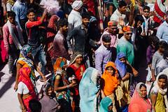 Pilgrims in Street, Vrindavan India (AdamCohn) Tags: adamcohn hindu india vrindavan holi pilgrim pilgrimage pilgrims होली