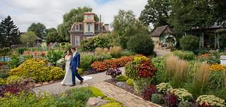 A wedding day stroll in the garden...