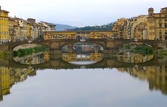 Ponte vecchio (Michschnei) Tags: dark city town bridgge river water day sky daylight buildings reflex pic picture yellow grey clouds cloudy aesthetic trip florence travel monument mirror