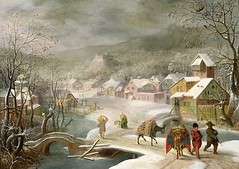 a winter landscape with travellers on a path (sky_sil24) Tags: bal49349 a winter landscape with travellers path alslootdenysvan15701628 castle mule scenes up to mid20th century