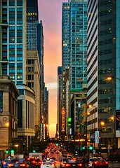Neonhenge (BlinkOfALens) Tags: chicago chicagohenge sunset clouds traffic cityscape city illinois neon buildings