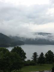 randolph lake 1 (GAWV) Tags: lake fog mountains randolph jennings clouds water railroad island trees rain bridge wv mineral vacation watershed waves ripples rocks