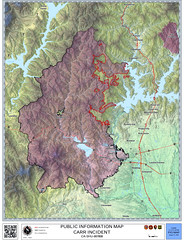 Carr Fire, 17 August 2018 (sjrankin) Tags: 19august2018 17august2018 map illustration visualization california northerncalifornia fire wildfire fireline calfire incidentfile21644050 carrfire redding lakeshasta