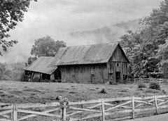 Alderson Barn with Fence_BW (Bob G. Bell) Tags: abandoned fence barn fog alderson wv summers greenbrier bobbell