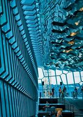 Blue Glass (BlinkOfALens) Tags: reykjavík capitalregion iceland is architecture blue glass interior reflection