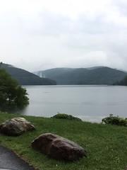 randolph lake 5 (GAWV) Tags: lake fog mountains randolph jennings clouds water railroad island trees rain bridge wv mineral vacation watershed waves ripples rocks