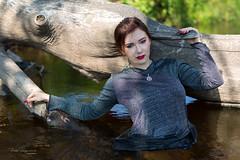 Wet beauty (piotr_szymanek) Tags: minerwa portrait outdoor woman young skinny face eyesoncamera redhead wet water river tree hand pentagram 1k 20f 50f 5k 10k 100f 20k